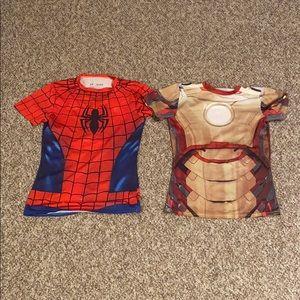 Two boys Under Armour superhero shirts